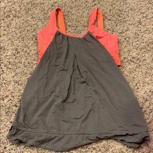 Grey and orange lululemon tank top
